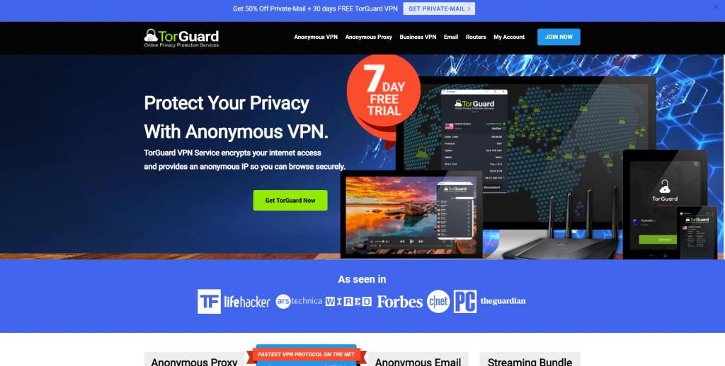 Homepage Torguard VPN