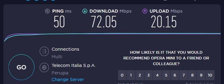 SpeedTest con OperaVPN attiva