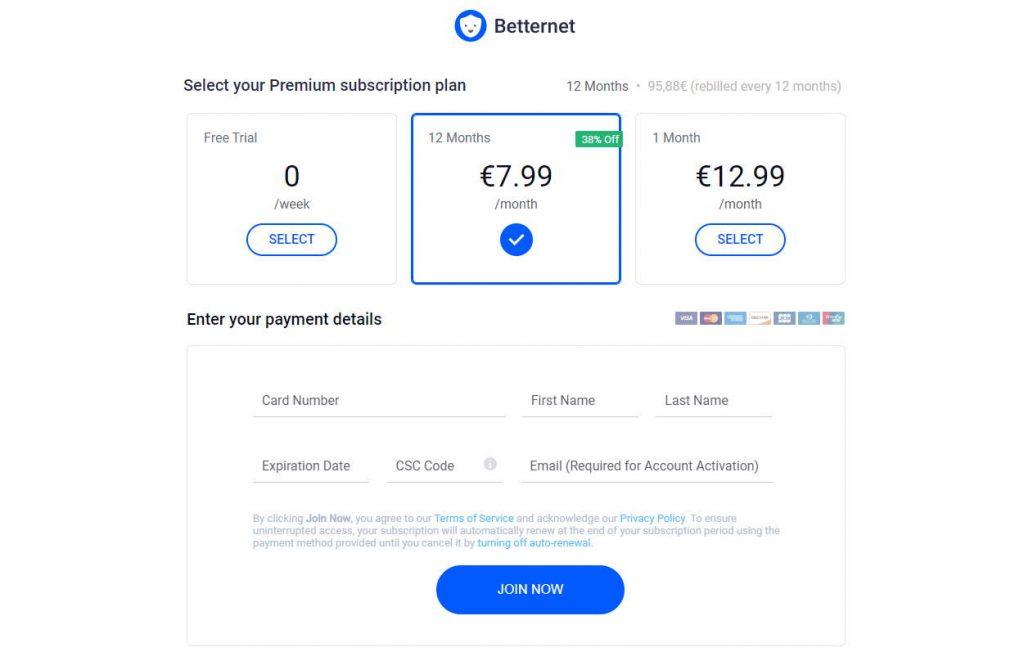 Costi della VPN Betternet