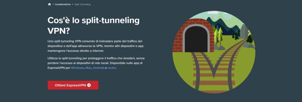 Split Tunneling di ExpressVPN