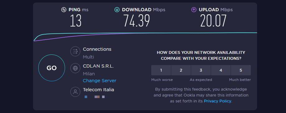 Test effettuato sulla mia connessione senza ExpressVPN attiva